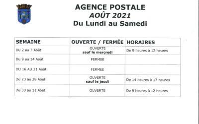 Agence postale – Horaires d'été