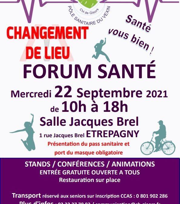 Forum Santé – Changement de lieu